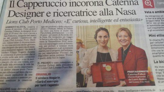 Consegna del premio Capperuccio 2017 dal Lions Porto Mediceo alla Dott.ssa Caterina Falleni