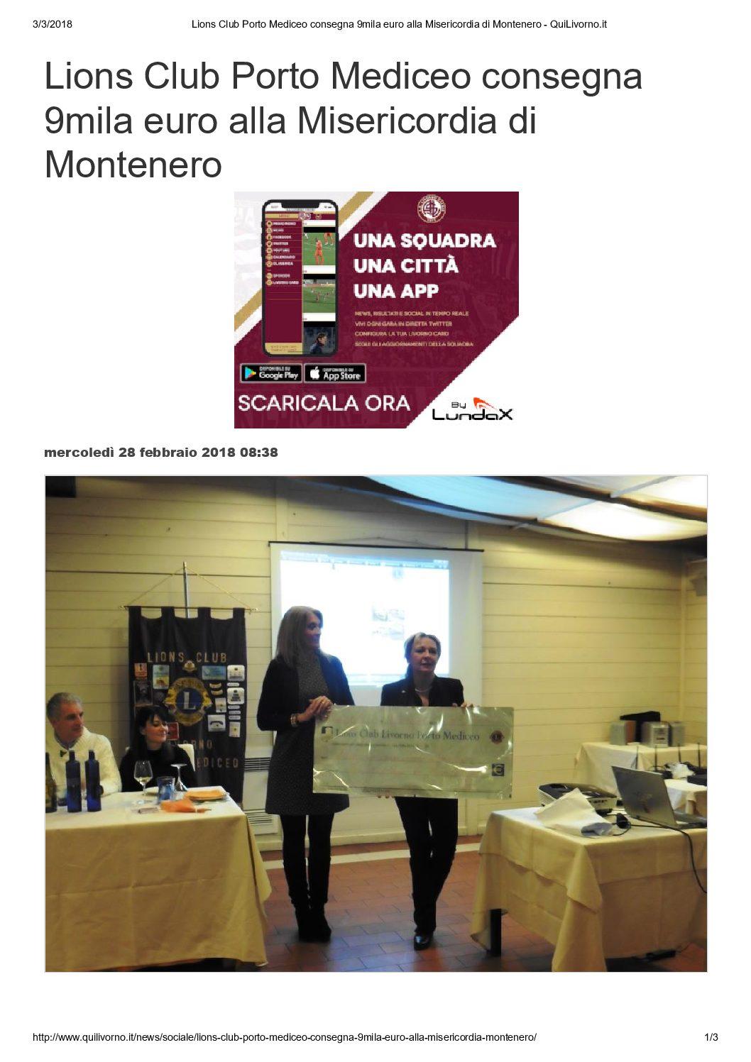 Lions Club Porto Mediceo consegna 9mila euro alla Misericordia di Montenero