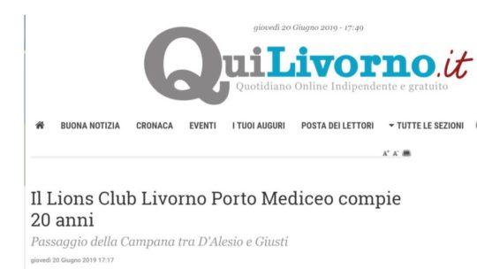 Il Lions Club Livorno Porto Mediceo compie 20 anni