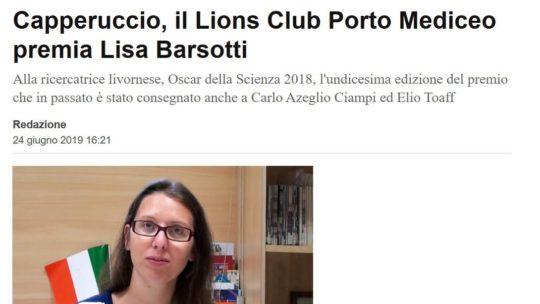 LivornoToday – Capperuccio, il Lions Club Porto Mediceo premia Lisa Barsotti
