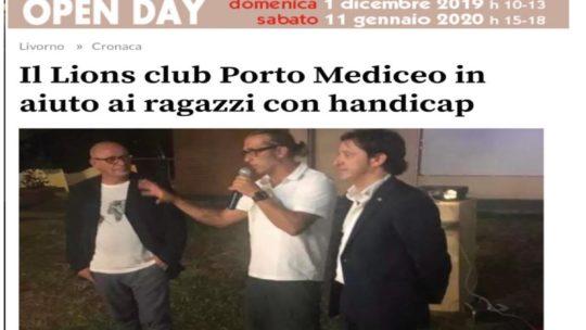 Il Tirreno – Il Lions Club Porto Mediceo in aiuto ai ragazzi con handicap