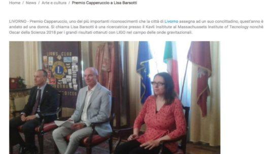 Tele Granducato – Premio Capperuccio a Lisa Barsotti