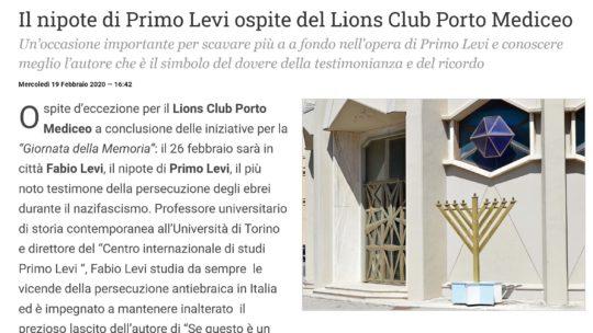 QuiLivorno: Il nipote di Primo Levi ospite del Lions Club Porto Mediceo