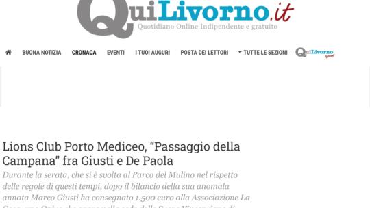 """QuiLivorno – Lions Club Porto Mediceo, """"Passaggio della Campana"""" fra Giusti e De Paola"""