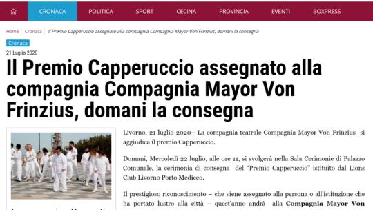 LivornoPress – Il Premio Capperuccio assegnato alla compagnia Compagnia Mayor Von Frinzius, domani la consegna