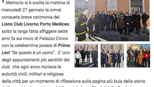 """Qui Livorno – Il Lions Club Porto Mediceo celebra la Memoria sotto la targa """"Se questo è un uomo"""""""