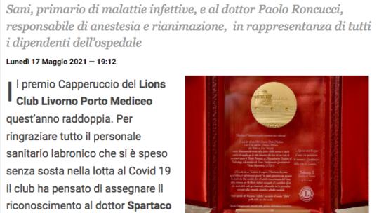 Il Lions Club Livorno Porto Mediceo consegna il Premio Capperuccio 2021 al personale sanitario che si spende contro il Covid-19